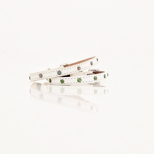 White Leather Cat Collars with Coloured Crystal