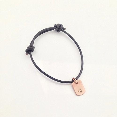 Leather Dog Tag Bracelet- kisses & hugs