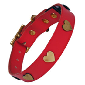 Red Leather Collar with Brass Hearts