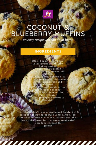 Healthy Coconut & Blueberry Muffins