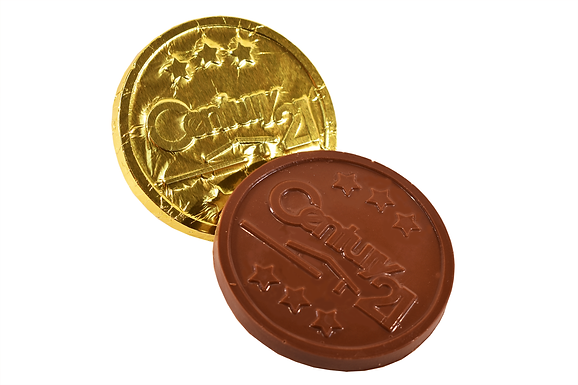 Custom moulded foiled chocolate disc (pack of 100)