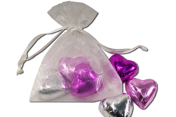 Foiled hearts 3 pack in Organza bag (Pack of 30)