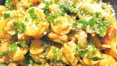 Orecchiette w/ Kale & Sun-Dried Tomato Pesto