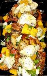 Seafood Trio - Salmon, Shrimp w/ Crab Mango Salsa