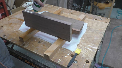 Gluing up the walnut and Brazilian cherry