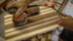 Sanding the cutting board