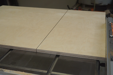 Layout of the two sides of the sled on the table saw