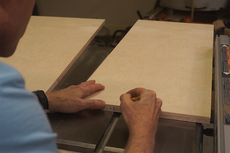 Marking the location of the miter slots on the sled