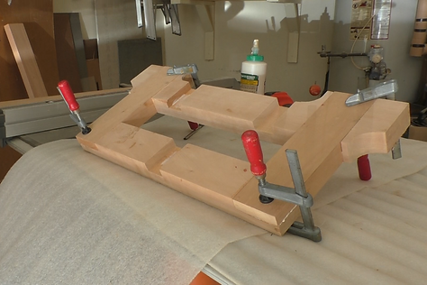 Photo of the base end glued and clamped