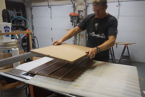Bonding the MDF together using slats of wood to hold them apart