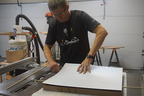 Applying the plastic laminate to the MDF