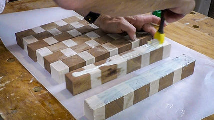 Gluing up the end grain strips