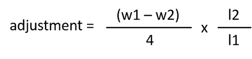 Adjustment = (w1-w2)/4/l2/l1