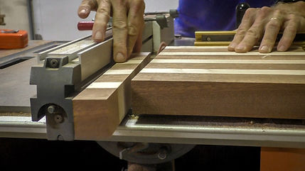 Cutting the end grain strips
