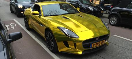 1 vvivid xpo gold chrome supercast jaguar F-Type wrap vinyl 14
