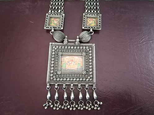 Silver Miniature Art Painting Necklace