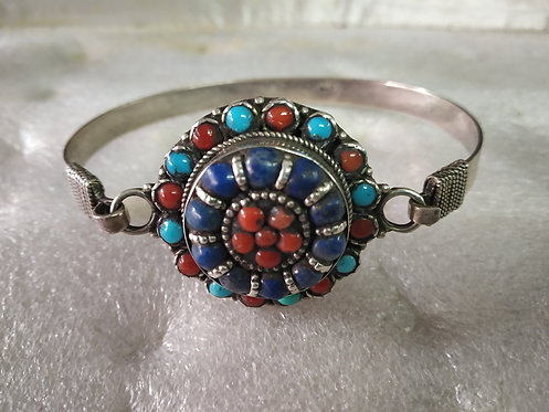 Nepali Coral, Turquoise and Lapis Cuff Bracelet