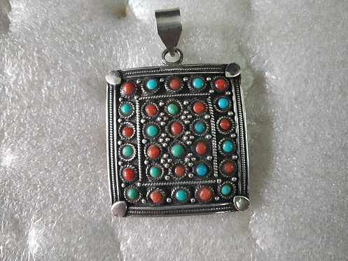 Coral And Turquoise Square Silver Pendant