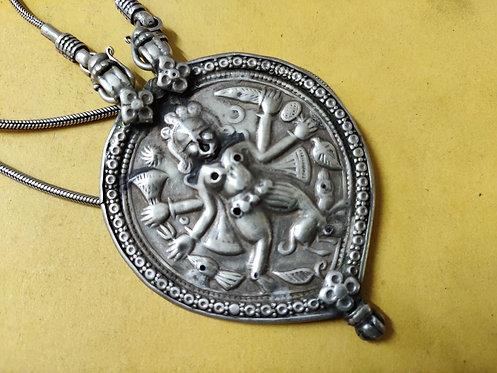 1950's Goddess Mahakali Bhairavi 925 Sterling Silver Repousse Work Necklace