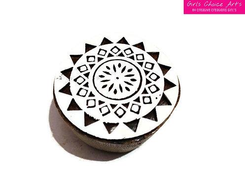 Traditional Wood Stamp - Mandala, Swirl, Rangoli, Indian Circle
