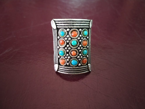 1980's Coral and Turquoise Stone Ring