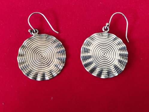 Silver Spiral Round Shape Dangle And Drop Earrings