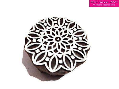 Traditional Wood Stamp - Mandala, Swirl, Rangoli, Indian Circle, Flower Circle