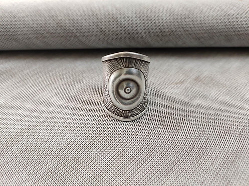 Ethnic Repousse Silver Sun Ring - Traditional Ethnic Tribal Silver