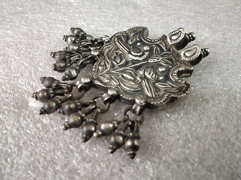 Bell Cluster Handcrafted Flowery & Peacock Pattern Amulet