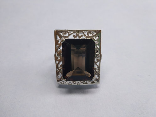 Vintage 925 Sterling Silver Rhodium Plated Smokey topaz Ring