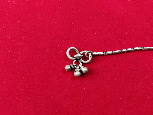 Simple Silver Chain Anklet - Three Bells on Locking Hook