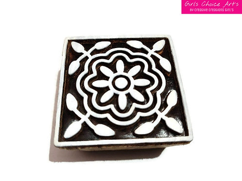 Floral Wooden Art Blocks or Stamps for Personalize Gift Making or Home Decor