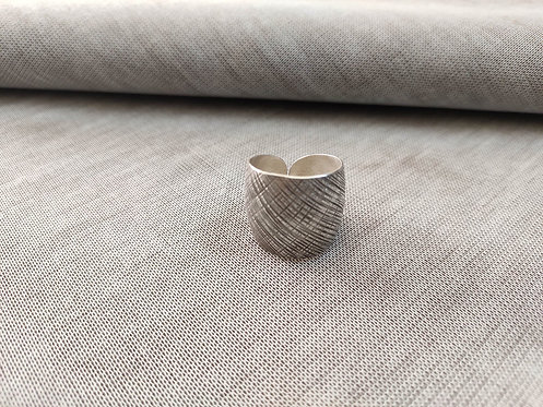 Convex Silver Cross Scratch Ring - Adjustable Vintage Statement Silver Ring