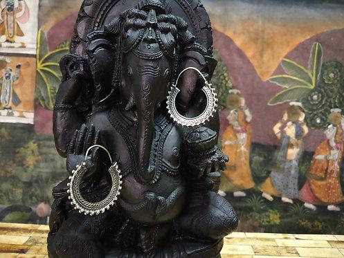 Rajasthani Hoop Earring - Silver Bali