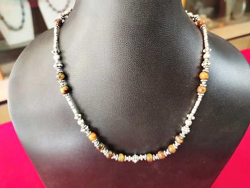 Traditional Hand Intertwined Silver and Tiger Eye Beads Beaded Necklace