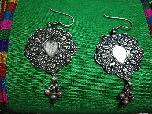 Silver Leaf Hammered Dangle Earring
