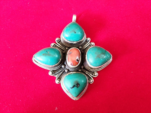 1970 Vinatge Coral and Turquoise Pendant