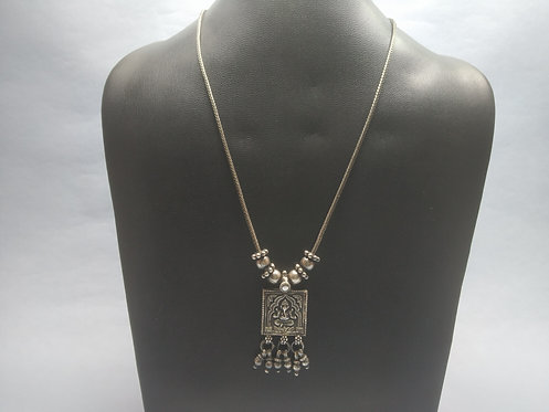 Lord Ganesh Square Shape Pendant necklace - 800 Silver