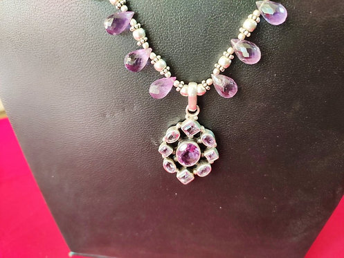 Traditional Silver and Amethyst Beads Beaded Necklace