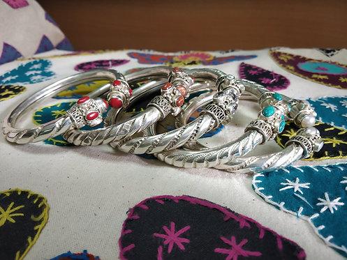 Rajasthani Cuff Bracelet - Pearl - Coral - Zircon - Sandstone - Turquoise
