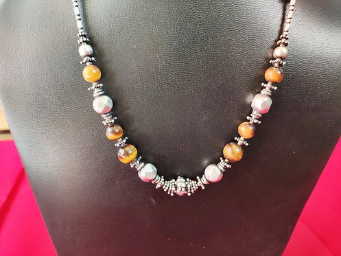 Tiger Eye Beads and Silver Beads Hand Intertwined Beaded Necklace
