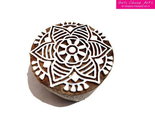 Wood Stamp - Mandala, Swirl, Rangoli, Indian Circle, Flower in a circle
