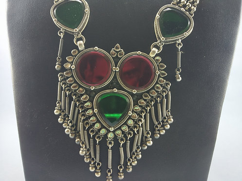 1980's Vintage and Handmade Rajasthani Silver Glass Necklace