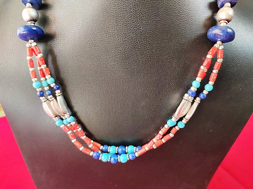 Traditional Lapis, Turquoise, Silver and Coral Beads Hand Intertwited  Necklace
