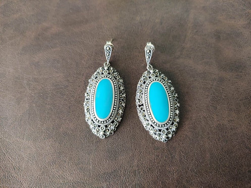 Enamel Turquoise and Swiss Marcasite Push Back Silver Earrings