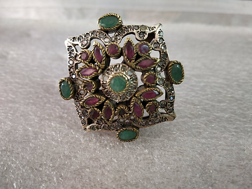 Uncut American Diamond, Ruby And Emerald Victorian Ring