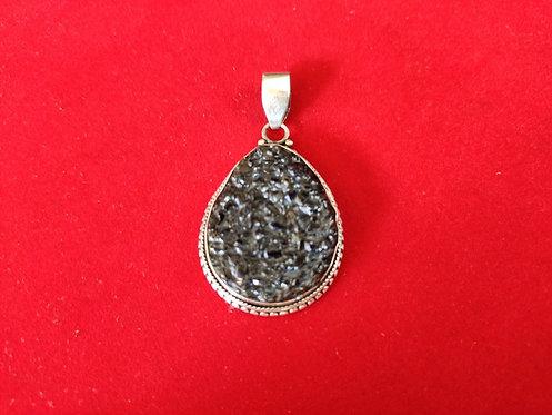 Black Druzy Silver Pendant