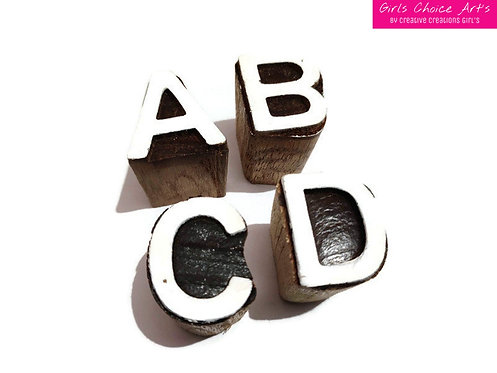 A B C.... X Y Z Handmade Wooden Block for School and College Projects