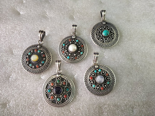 Mother Of Pearl, Turquoise,Pearl, Amethyst, Rainbow Moon Pendant