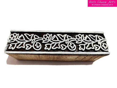 Wooden Printing Blocks Border - Wooden Leaf Border